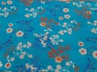 Коттон цветной - цветы (синий)
