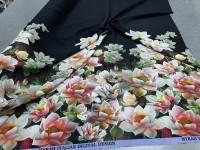 Креп - цветы (черный фон)