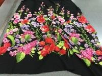 Шифон - цветочный купон (черный)