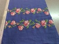 Лен-вышивка розы - синий